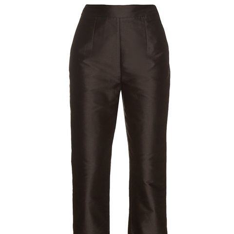 Frill-Hem Cotton-Blend Trousers