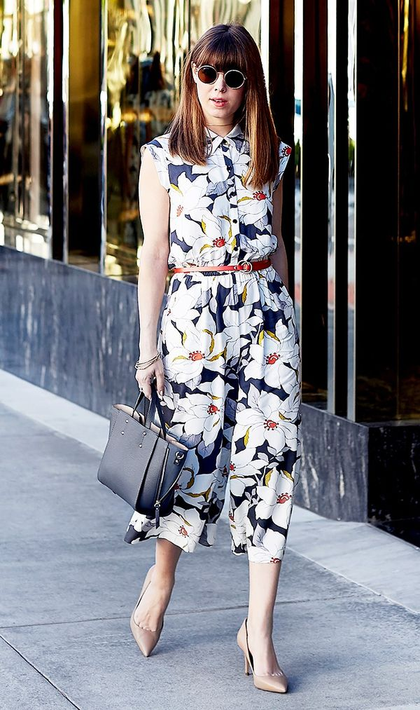 Floral Dress + Nude Pumps + Tote