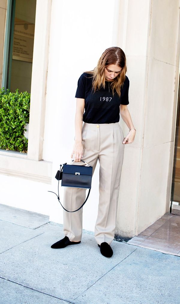 T-shirt + Khaki Trousers + Loafers