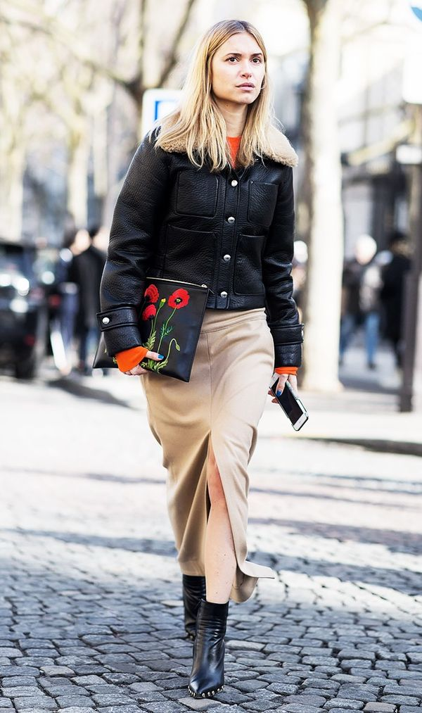 Leather Jacket + Pencil Skirt + Boots