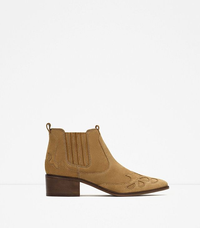 Zara Block Heel Leather Cowboy Ankle Boots