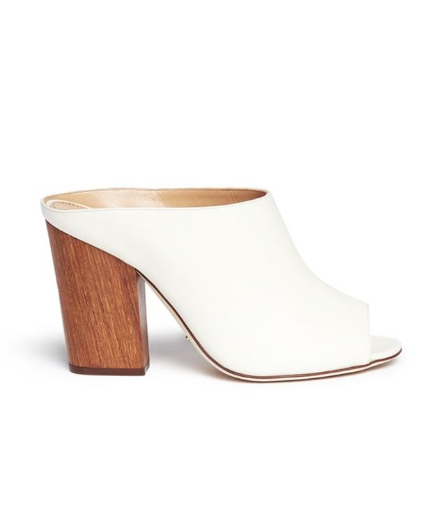 Sergio Rossi Wooden Heel Peep Toe Leather Mules