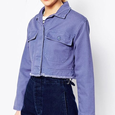 Shacket in Cropped Length in Distressed Wash