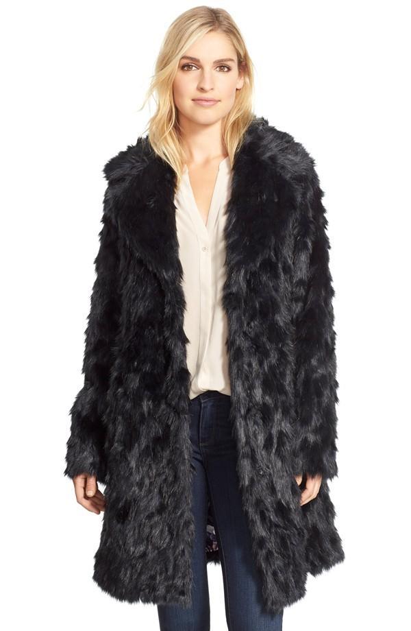 Eliza J Shaggy Faux Fur Coat