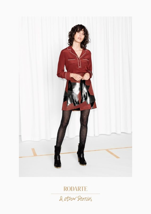 Rodarte x & Other Stories Patchwork Leather Skirt