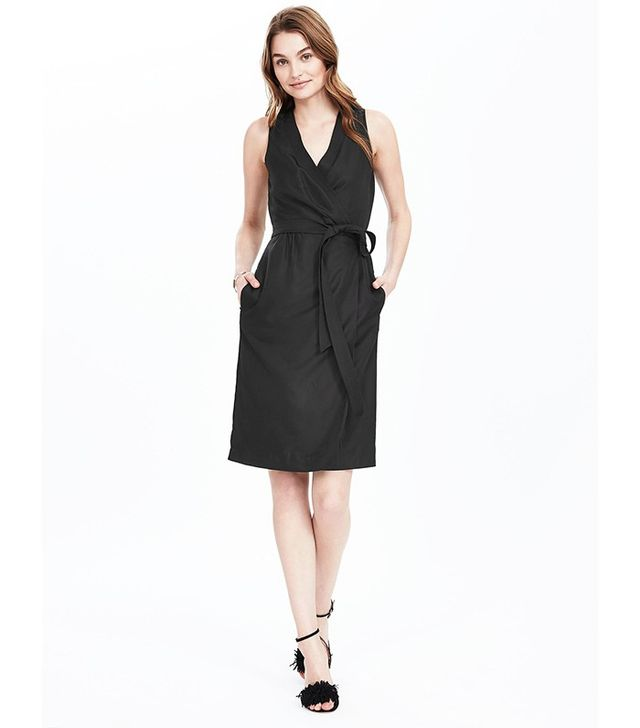 Banana Republic Black Sleeveless Wrap Dress