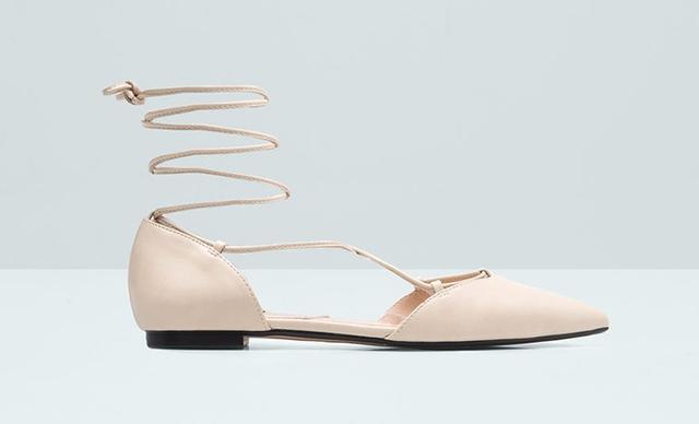 Mango Pointed Toe Flat Sandals