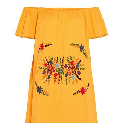 Off-the-Shoulder Embroidered Cotton Mini Dress