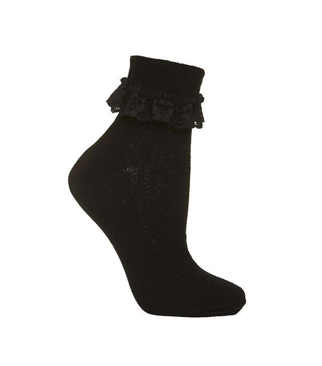 Topshop Lace Trim Ankle Socks