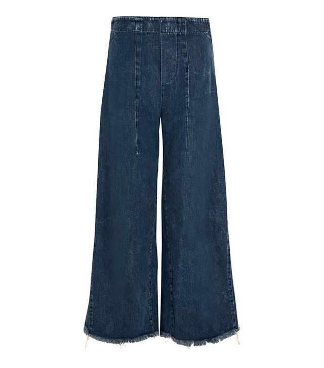 Chloe Frayed High-Rise Wide-Leg Jeans