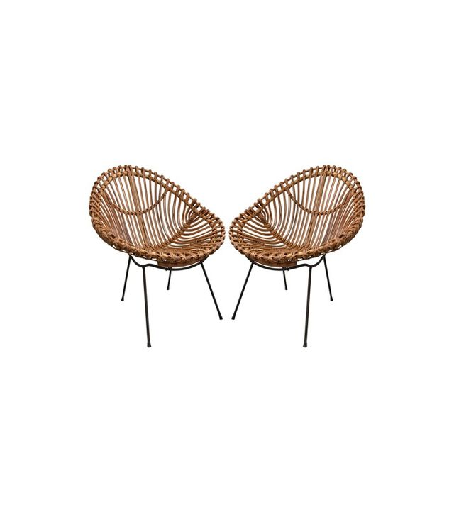 Franco Albini Style Bamboo Chairs, Set of 2