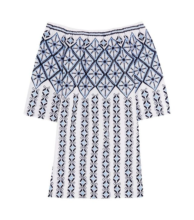 Miguelina Augustina Off-the-Shoulder Embroidered Cotton Mini Dress