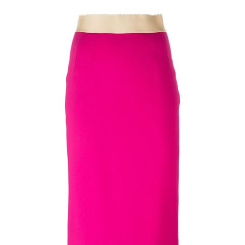 Contrast Waist Pencil Skirt
