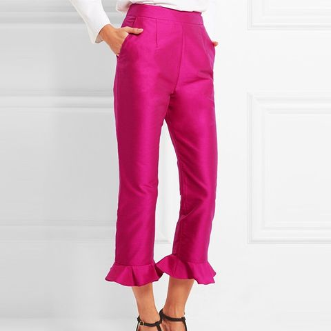 Cropped Ruffled Cotton-Blend Straight-Leg Pants