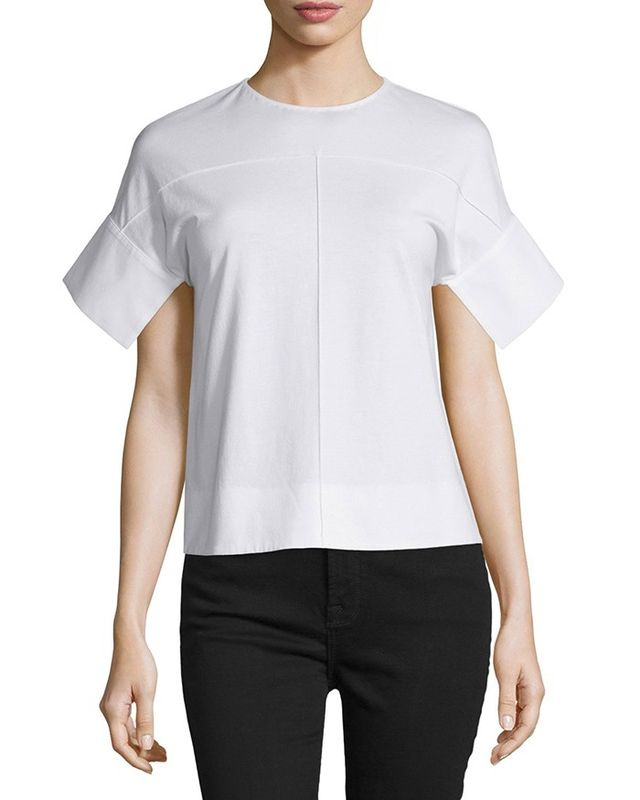 Victoria by Victoria Beckham Kimono-Sleeve Jewel-Neck Top in White