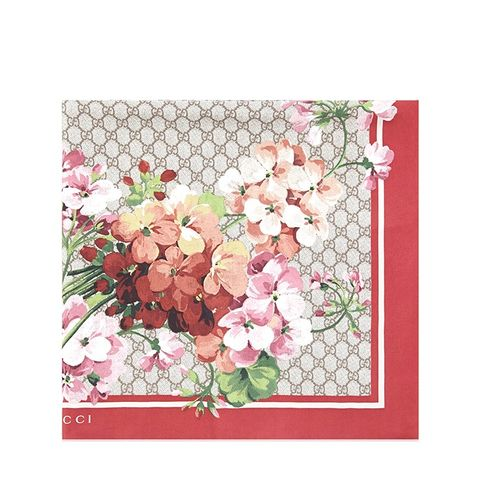 GG Blooms-Print Silk Scarf