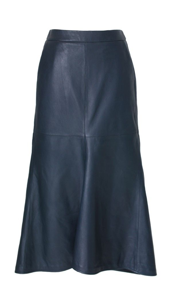 Tibi Leather Fluted Skirt
