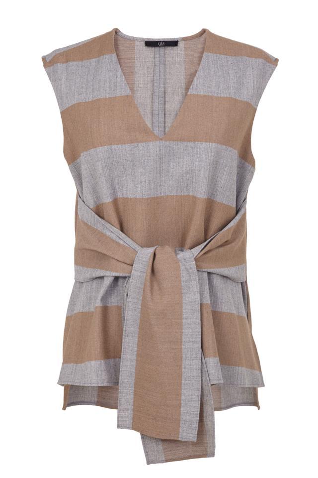 Tibi Hoirzon Stripe Wool Tie Top