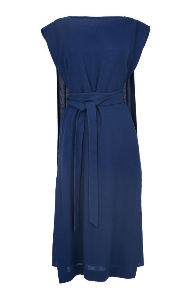 Tibi Aurora Drape Tie Cape Dress