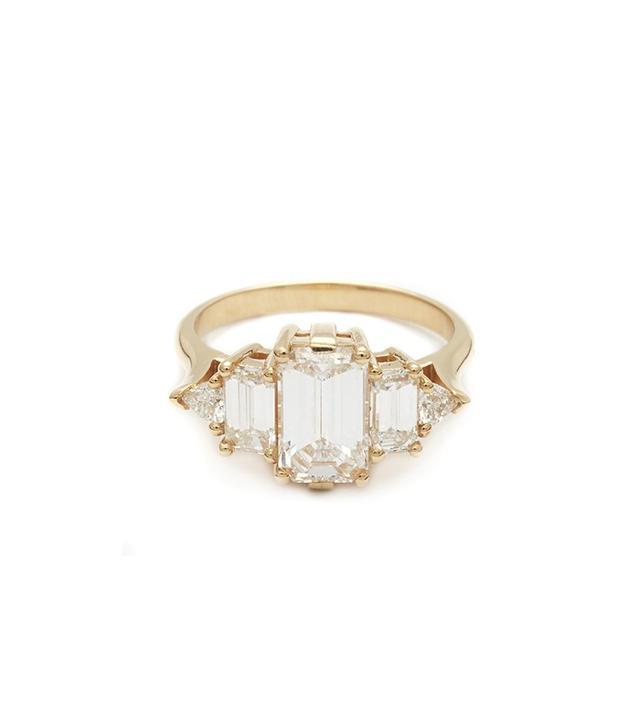 Anna Sheffield Theda Ring, Emerald Cut White Diamond
