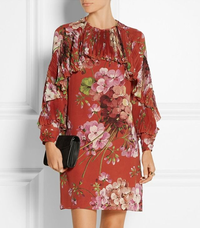 Gucci Floral-Print Silk-Georgette Mini Dress