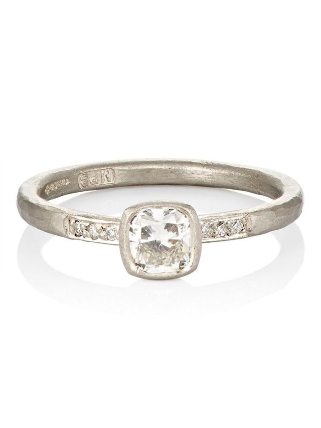Malcolm Betts Cushion-Cut Diamond Ring