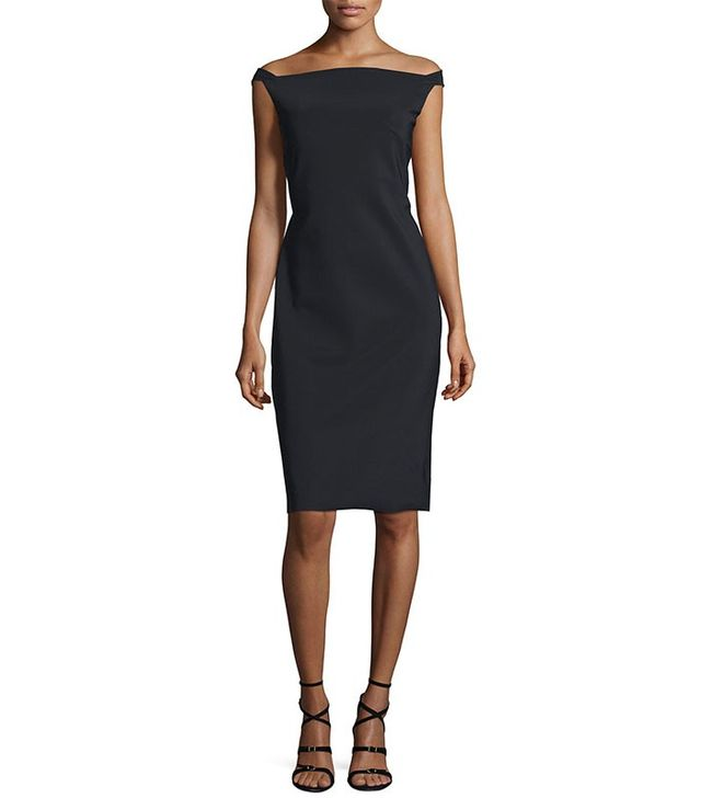 La Petite Robe di Chiara Boni Zhalia Off-the-Shoulder Open-Back Sheath Cocktail Dress