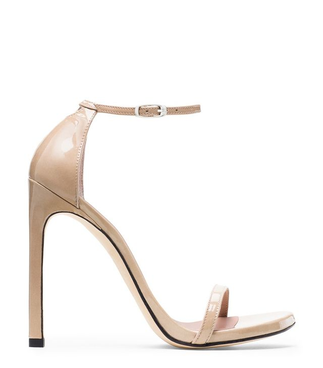 Stuart Weitzman Nudist Sandals in Sabbia Beige Patent