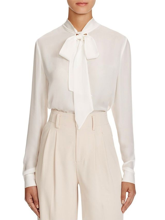 Alice and Olivia Freddie Tie Neck Blouse