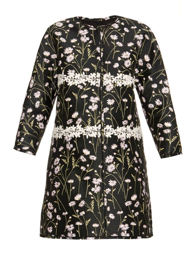 Giambattista Valli Floral-Jacquard Collarless Jacket
