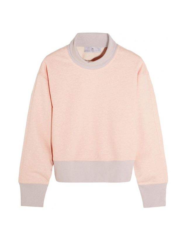 Adidas by Stella McCartney Cropped Organic Cotton-Blend Turtleneck Sweater