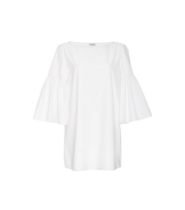 Suno White Cotton Bell Sleeved Tunic