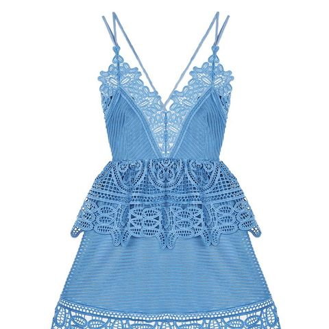 Blue Lace Trimmed Peplum Dress