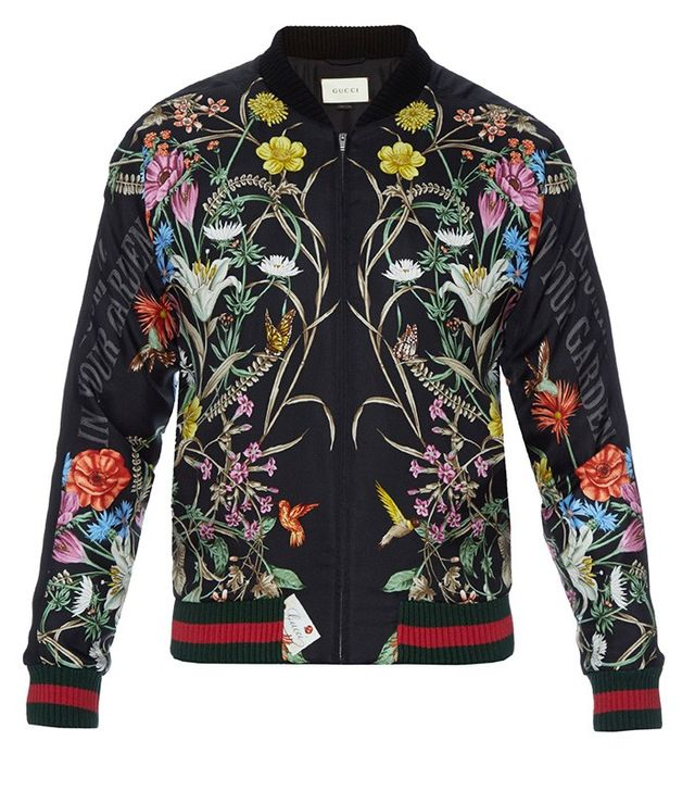 Gucci Men's Foulard-Print Silk Bomber Jacket