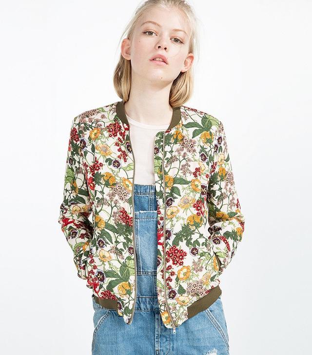 Zara Floral Print Bomber Jacket
