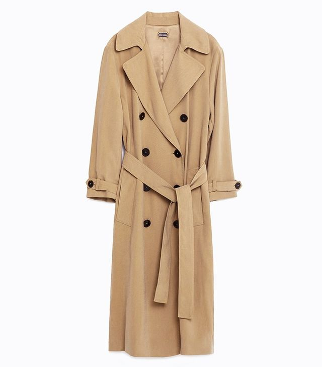 Zara Long Cross-Over Trench Coat