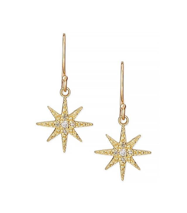 Mizuki Pavé Diamond Star Drop Earrings
