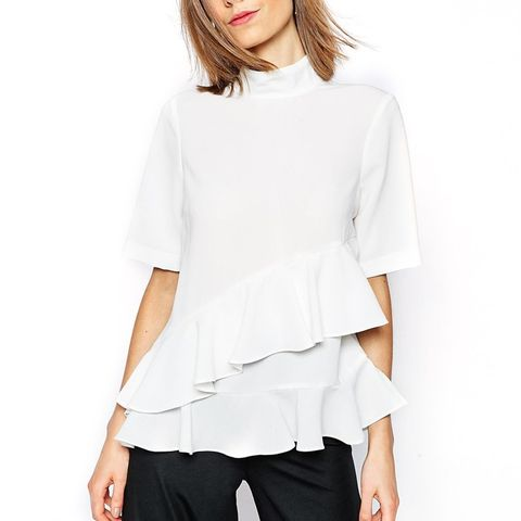 High Neck Ruffle Tiered Top With Short Sleeve