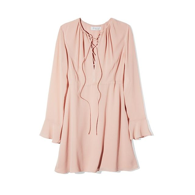WAYF Lace Up Bell Sleeve Dress