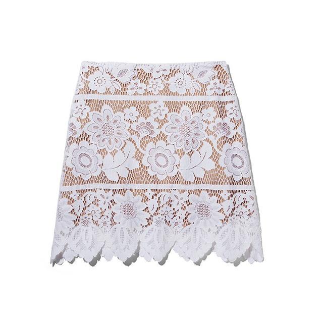 For Love & Lemons Scallop Lace Mini Skirt
