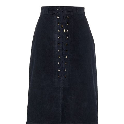 Lace-Up Corduroy Skirt