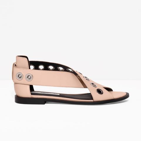 Eyelet Detail Leather Sandals