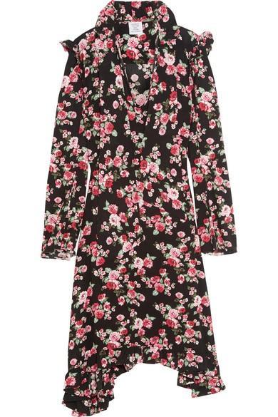 Vetements Ruffle-Trimmed Floral-Print Crepe Midi Dress