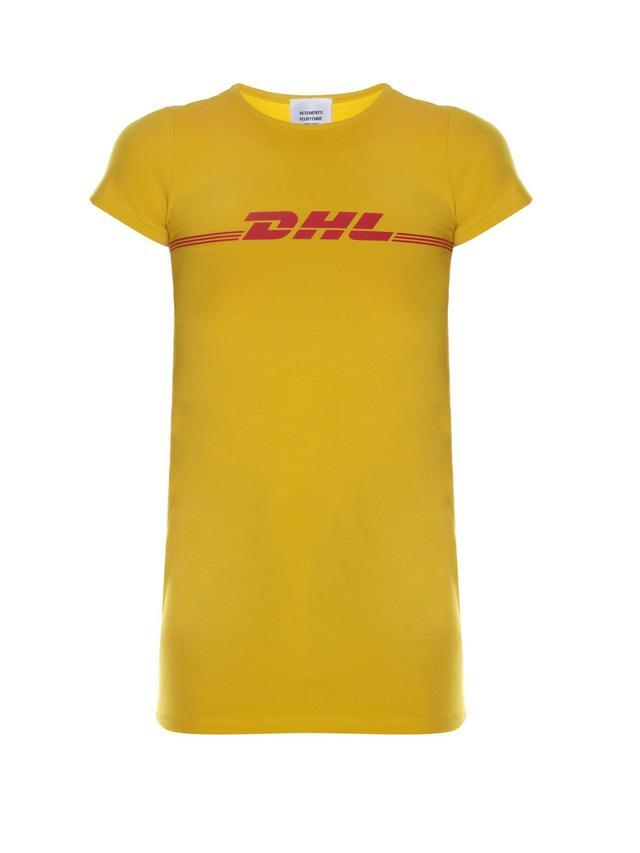 Vetements DHL-Print Cotton-Blend T-Shirt