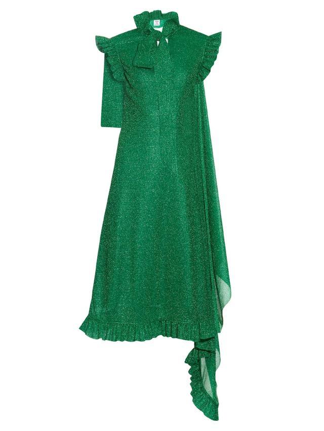 Vetements Open-Back High-Neck Metallic Dress