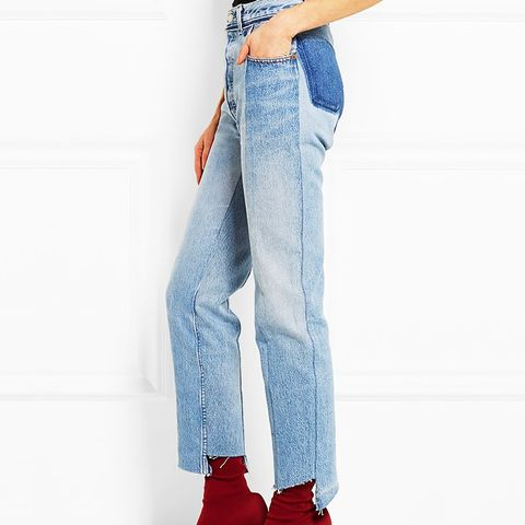 Paneled Diestressed Jeans