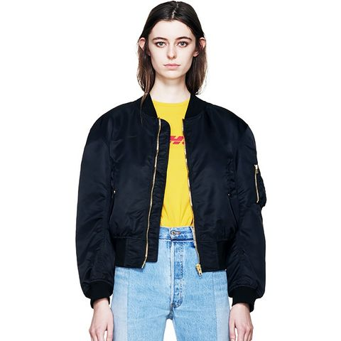 Black Nylon Front Back Bomber Jacket
