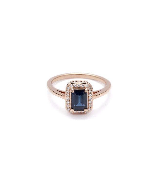 Anna Sheffield Elongated Rosette Ring in Blue Sapphire