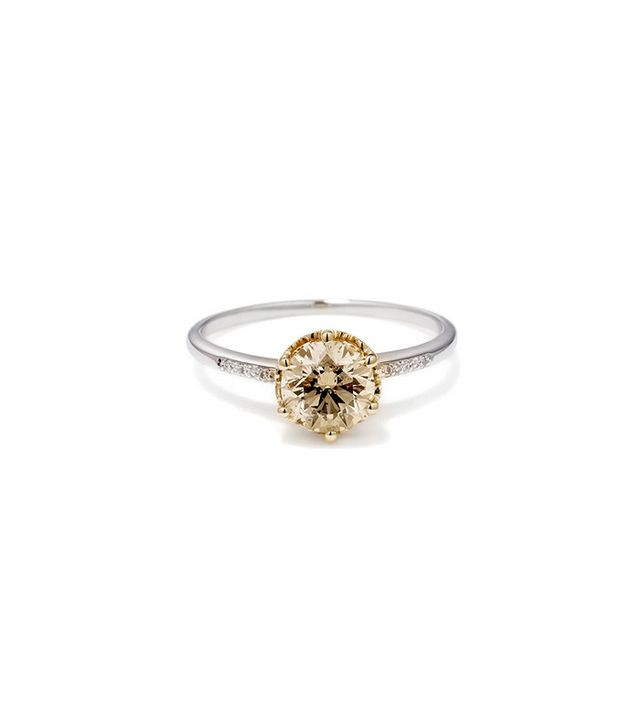 Anna Sheffield Hazeline Solitaire Ring (Medium) in Champagne Diamond