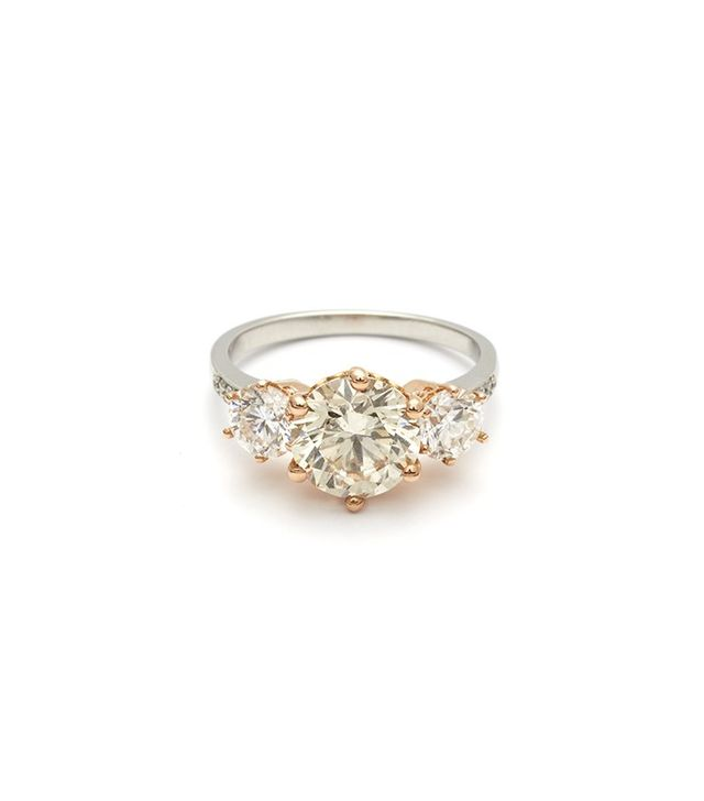 Anna Sheffield Hazeline Three Stone Ring (Large) in Champagne Diamond